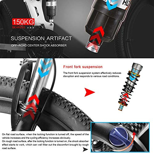 SAMEBIKE Plus E-Bike, E-MTB, E-Mountainbike 48V 10.4Ah 350W - 26-inch Folding Electric Mountain Bike 21-level Shift Assisted (48V/10.4Ah-Black)