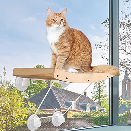 Cat Perch, Angela&Alex Cat Window Hammock Cat Seat with Strong Heavy Screw Suctions Cups Cat Bed Cat Seat with Natural Sisal Iron Bracket Hold up to 30 lbs 2021 New Versions