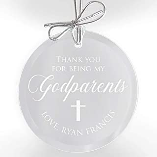 Lifetime Creations Personalized Godparents Ornament - Engraved Glass Godparent Ornament, Godfather Ornament, Godmother Ornament, Gift from Godchild