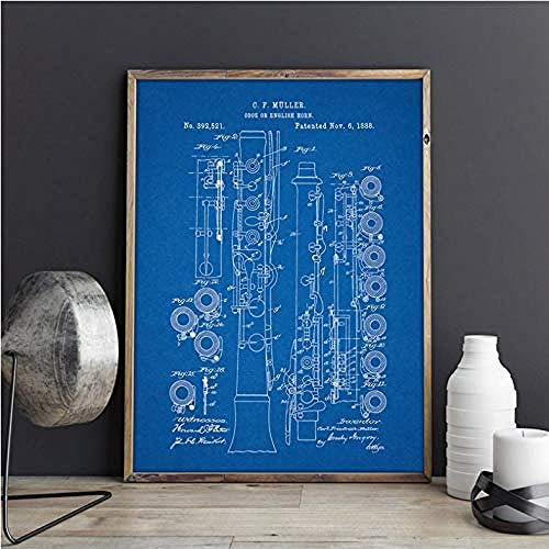 XIANGLL Poster Und Drucke Oboe Instrument Vintage Blueprint Wandkunst Bilder Orchestermusik Zimmer Leinwand Malerei Geschenk Ohne Rahmen 50 * 70 cm