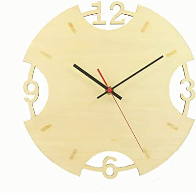 MAlex Wall Clock Wooden Clock 12 inch Clock Clocks Living Room Bedroom Mute Quartz Clock