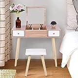 Estink Mesa de tocador moderna, juego de espejo, mesa cosmética, mueble de...