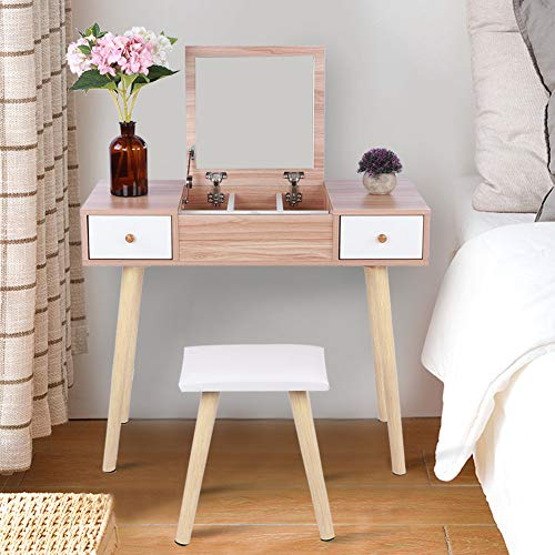 Estink Mesa de tocador moderna, juego de espejo, mesa cosmética, mueble de tocador con espejo plegado y cajones, capacidad de 75 kg, 90 x 40 x 75 cm