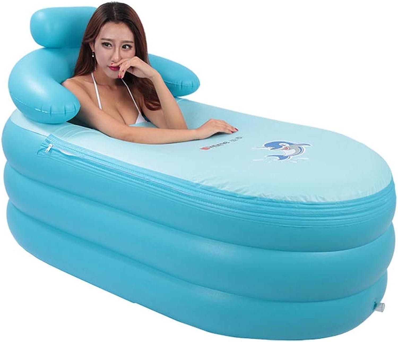 JXXDDQ Aufblasbare Badewanne Dicke warme faltende Badewanne Badefass Bad Eimerfsser, Blauer Blasenboden - 160 cm x 84 cm x 64 cm