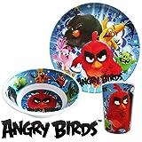 Set pappa in melamina tre pezzi Angry birds piatto piano, fondo e bicchiere. Prodotto con licenza Rovio.