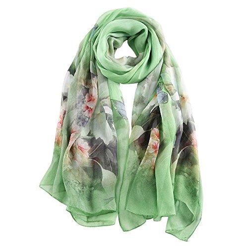 potente para casa Historia de Shanghai Pañuelo de seda para mujer 100% seda con estampado floral y pañuelo grande…