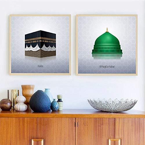 Poster und Drucke des islamischen Schreins Mekka Mekka Bilder Leinwand Gemälde Dekoration rahmenlose Malerei 40X40cm