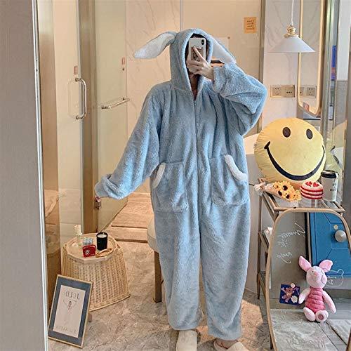 YYYSHOPP Pijama largo con capucha para mujer, con cremallera, para invierno, para adultos, grueso, de dibujos animados, para mujer (color: azul, tamaño: XL)