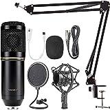 Microfono Condensador Profesional Potente Jack Estereo para Set Estudio grabacion Podcast directos influencers BMKLACK800 (Negro)