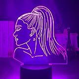 Luz de noche 3d cantante Ariana Grande regalo para fans decoración de dormitorio luz Led Sensor táctil que cambia de Color lámpara de escritorio de trabajo celebridad