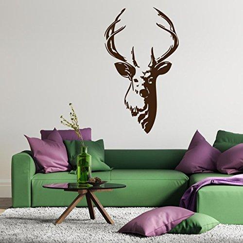 denoda® Hirschgeweih - Wandtattoo Dunkelgrau 50 x 86 cm (Wandsticker Wanddekoration Wohndeko Wohnzimmer Kinderzimmer Schlafzimmer Wand Aufkleber)