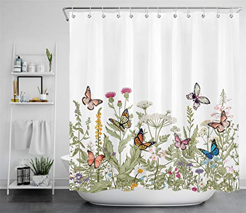 ECOTOB Floral Shower Curtain Decor, Country Wildflowers Green Leaf Plants and Colored Butterfly Shower Curtain 72X72 inch Polyester Fabric Bathroom Decorations Bath Curtains, Hooks Included