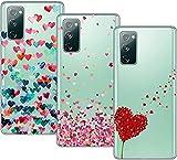Young & Min Funda para Samsung Galaxy S20 FE 5G/4G, (3 Pack) Transparente TPU Silicona Carcasa Delgado Antigolpes Resistente, Amor