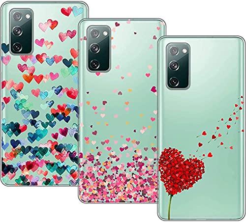 Young & Min Cover per Samsung Galaxy S20 Fe 5G/4G, 3 Pack Morbido Trasparente Silicone Custodie Protettivo TPU Gel Case, Amore