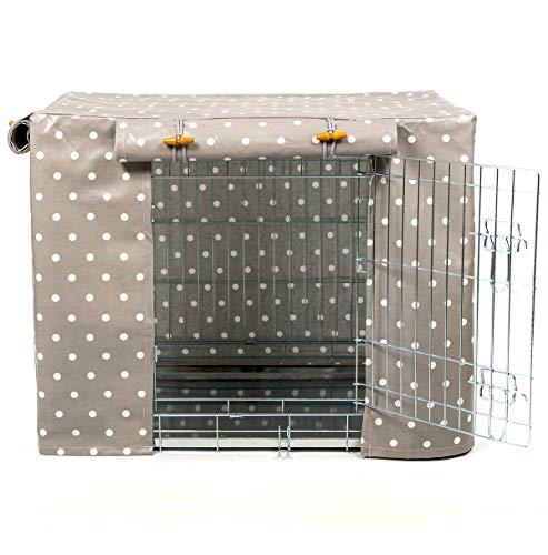 Lords & Labradors Grey Spot Oilcloth Dog Crate Cover