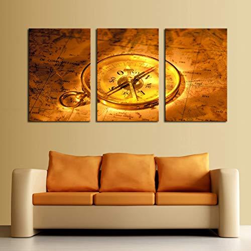 MMLFY 3 opeenvolgende schilderijen 3 Stuk Gouden Klok Kaart Nog Leven Muur Schilderen Thuis Woonkamer Muurdecoratie Print Afbeelding Canvas Oningelijst