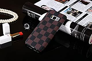 HeiL S8 TPU (Fast US Deliver Guarantee Fulfilled by Amazon) New Elegant Luxury PU Leather Checker Pattern Classic Style Cover Case for Samsung Galaxy S8 s 8 ONLY (Brown TPU)