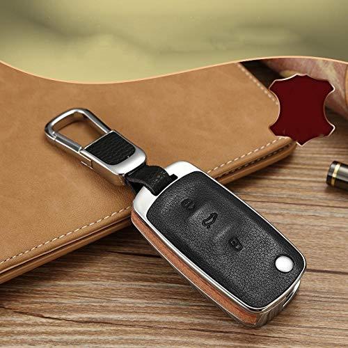 ZYTZK Funda de Cuero de Madera para Llave de Coche, para Volkswagen VW Polo Tiguan Passat B5 B6 B7 Golf EOS Scirocco Jetta MK6 Octavia Accesorios-Madera con Llavero