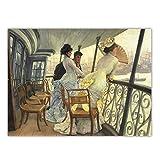 Xynfl James Tissot 《The Gallery of HMS Calcutta》 Arte de la Lona Pintura al óleo Obra de Arte Impresión del Cartel Imagen Decoración de la Pared Decoración del hogar 60x80cmx1 Sin Marco