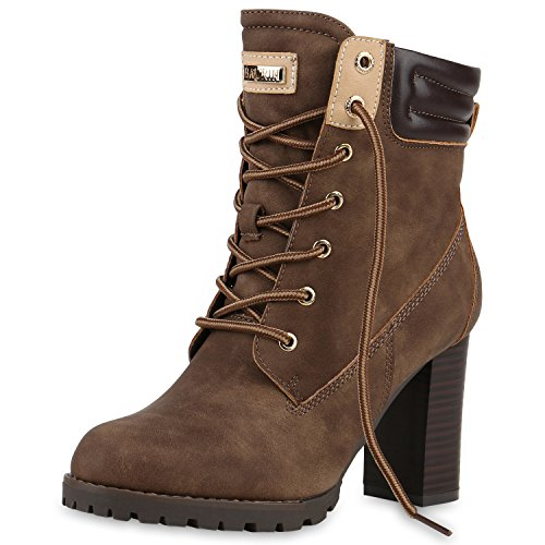 SCARPE VITA Damen Schnürstiefeletten Worker Boots Stiefeletten Block Absatz 160667 Khaki Leicht Gefüttert 36