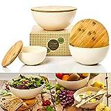 bambuswald© ökologische Salatschüssel mit Deckel aus Bambus 3 Stück im Set | Bambusschüssel in 0,9L 1,9L oder 4L - nachhaltige & robuste Kochschüssel für die Küche
