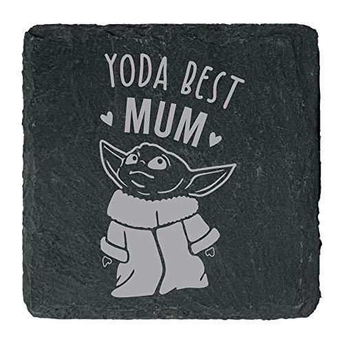 eBuyGB Personalisierbarer quadratischer Schiefer Untersetzer, Baby Yoda Best Mum, Mumy, Oma, Stiefmutter, Oma, Muttertagsgeschenk, Geburtstagsgeschenk, Getränke-Untersetzer mit Gravur