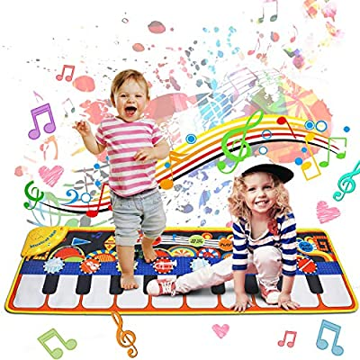 MOZOOSON Music Mat Toy for Kids Toddlers Age 1-8 Years Old, Piano Keyboard Playmat Dance Mat with Record, Playback, Demo, Xmas Gifts Toys for Girls Boys by MOZOOSON