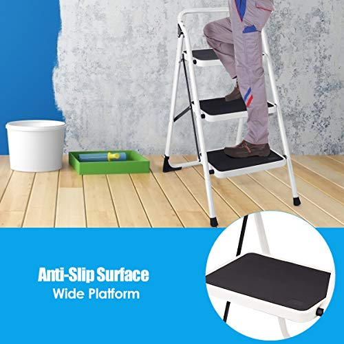 Safstar 3 Step Ladder, Folding Step Stool with Handgrip and Anti-Slip Platform, Light Weight Steel Ladder Stool for Home Office, 340-pound Capacity