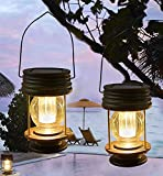Faroles solares colgantes 2 unidades de lámparas de jardín al aire libre LED vintage colgantes con asa para caminos, patio, decoración de árboles, playa, pabellón