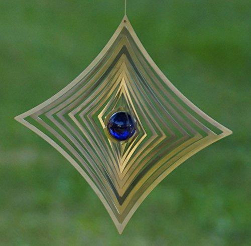 A2004 – steel4you hochwertiges 3D Windspiel aus Edelstahl mit Glasperle – Raute 19cm x 19cm – made in Germany - 2