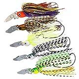 Fishing Lures,Bass Fishing Jigs-Flipping Jigs,Swim Jigs,Football Jigs,Silicone Skirts Fishing Jigs Bass Mix Color Metal Lead Fishing Jigs Kit 17g 8.5cm 5pcs