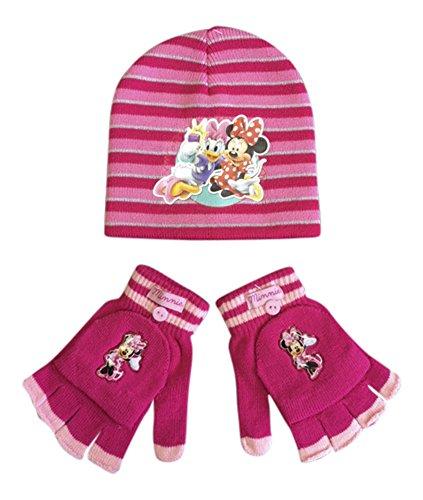Kinder Jungen/Mädchen gestrickte Winter warme Charakter Hut und Handschuhe gesetzt (Minnie Maus Cerise MM3)