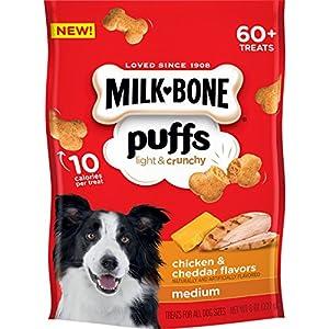 Milk-Bone Puffs Dog Treats, Chicken & Cheddar Flavors, Medium Treats, 8 Ounces (Pack of 4)