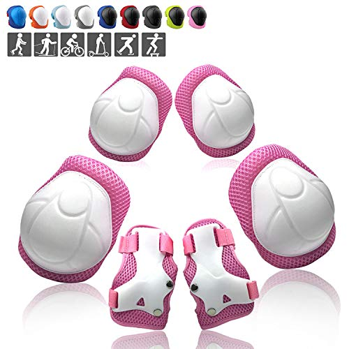 Wemfg Kids Protective Gear Set Knee Pads for Kids 3-8 Years Toddler Knee and Elbow Pads with Wrist Guards 3 in 1 for Skating Cycling Bike Rollerblading Scooter(Pink)