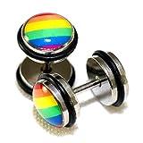 Rainbow Color Lesbian Gay Pride Design Steel Fake Cheaters Faux Illusion Plugs 0G Gauge 8mm 1 Pair Medium