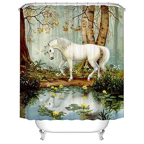 BROSHAN Mystic House Dekor-Duschvorhang, Landhaus-Vintage-Stil, weißes Pferd am See Wald Bäume, Lotusblüte, Naturszene, Badezimmer-Dekoration, Fantasie-Stoff, Bad-Duschvorhang, 183 cm lang