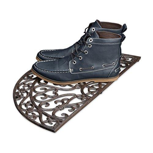 Relaxdays Fußabtreter Gusseisen rund HBT ca. 2 x 60 x 31 cm Fußabstreifer im Jugendstil Schuhabstreifer passend zum Landhausstil aus robustem Metall pulverbeschichtet mit Anti-Rutsch-Füßen, bronze