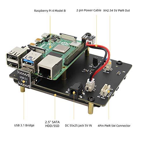 Raspberry Pi 4 SATA, raspberry Pi 4 Modello B X825 da 2.5 pollici SATA HDD/SSD Scheda di Espansione per Raspberry Pi 4B