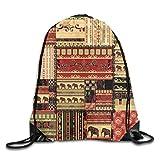 Patchwork Estilo Asiático Patrón Con Elefantes Y Culturales Diseños Antiguos Impresión Cordón...