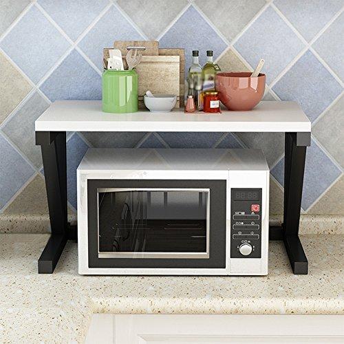 キッチンウォール収納ラックマウント キッチン電子レンジオーブンラックオーブンラック床多機能調味料ボトルブラケット金属単層、52×26×37センチ (Color : White)