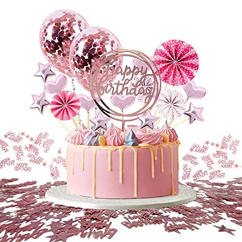 JSTC Decoración para tarta de cumpleaños en oro rosa, para niñas, jóvenes, cumpleaños infantiles, hombres, mujeres, tartas de cumpleaños.
