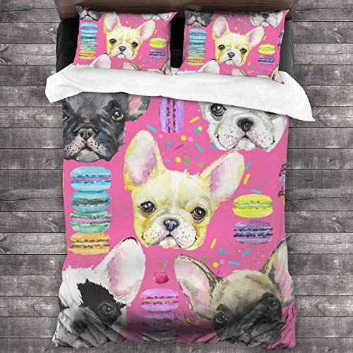 Duvet Cover Set,Animal Dog French Bulldog Print Bedding Set Lightweight Microfiber Comforter Cover 3 Piece Bedding Sets With 2 Pillow Shams.