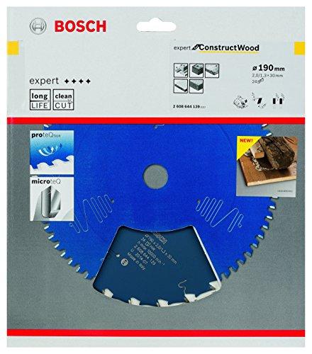Bosch Kreissägeblatt Expert für Construct Holz, 190 x 30 x 2 mm, Zähnezahl 24, 1 Stück, 2608644139 - 2