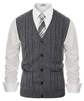 PJ PAUL JONES Men s V-Neck Cardigan Sweater Button Front Solid Knitwear Vest Grey XL