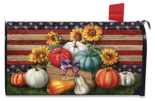 Briarwood Lane Patriotic Pumpkins Autumn Magnetic Mailbox Cover Sunflowers Primitive
