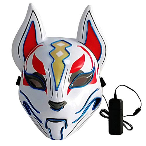 Lixada Máscara completa de 10 colores de zorro, luces de neón para Halloween, fiesta de disfraces, máscara (azul)
