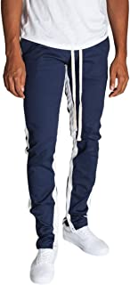 KDNK Men's Tapered Skinny Fit Joggers - Striped Track Pants with Ankle Zippers