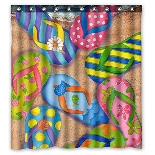Funny Flip Flops,Slippers art,Sandals 100% Polyester Shower Curtain (60