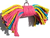 Sweet Feet and Beak Big Birdie Bow Tie Bird Toy - Perfect Cage Toy for Playing Colorful, Safe Shred Cotton Rope - Great for Medium to Large Sized Birds