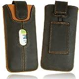 OrLine Handytasche Ledertasche kompatibel mit Microsoft Lumia 640 LTE. Tasche Echtleder (Lasche mit Rückzugfunktion Ausziehhilfe mit Einer Kreditkartenfach) Gürteltasche Hülle Hülle